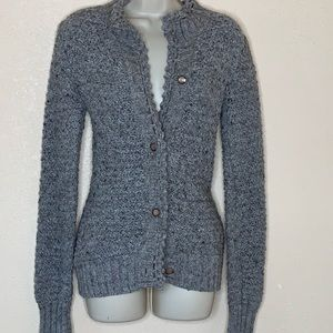 KENZIE GIRL || gray knit button up sweater small